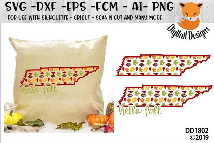 Tennessee Autumn Fall Leaves Pattern SVG example image 1