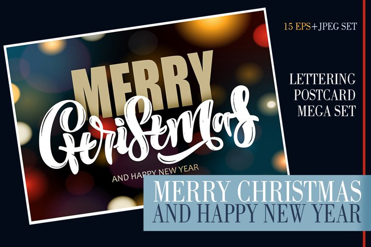 Merry Christmas and Happy New Year - lettering mega set