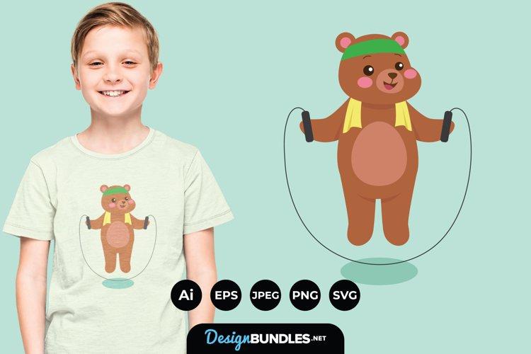 Bear Doing Exercise Illustrations for T-Shirt Design