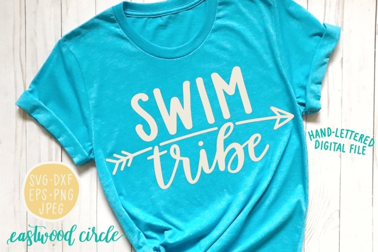 Swim Tribe Handlettered SVG example image 1