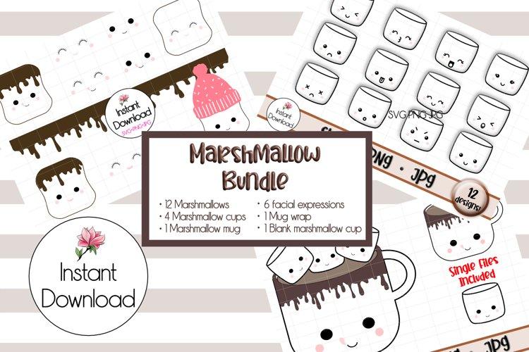 Kawaii Marshmallow Cups SVG BUNDLE! example image 1