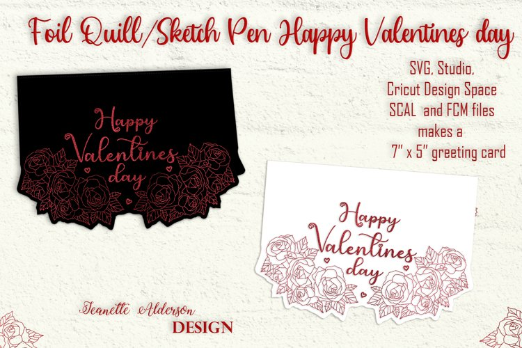 single line foiled roses Valentines Day card