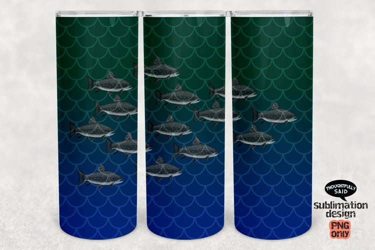 Fish Tumbler SUBLIMATION png, 20 oz Skinny, School of Fish example image 1