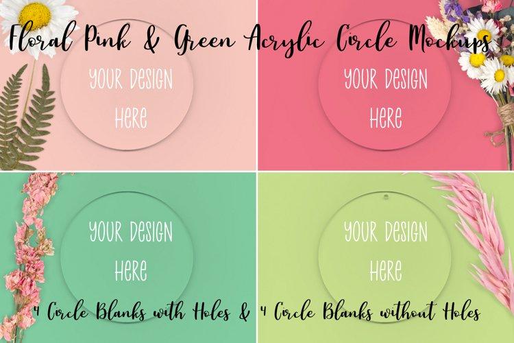 Spring Floral Pink & Green Clear Acrylic Mockups Circles