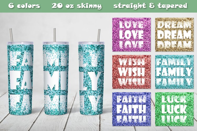 Bundle skinny Tumbler sublimation tapered straight Glitter