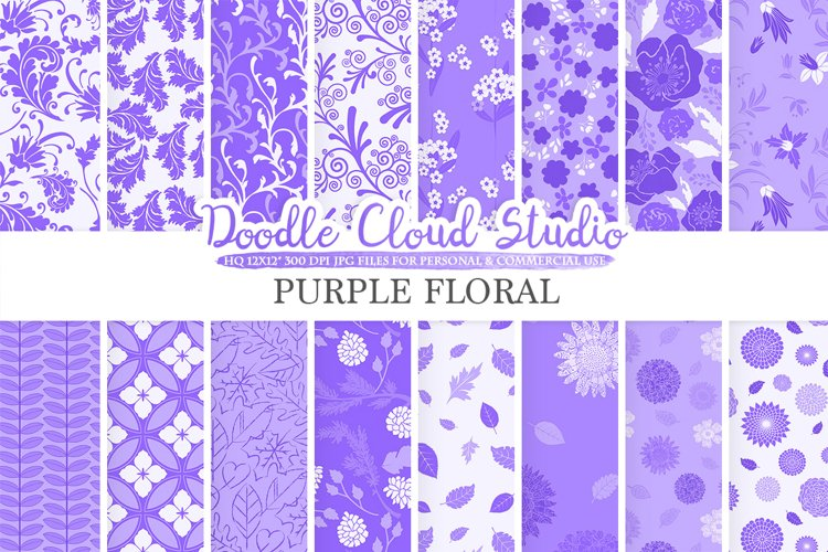 Purple Floral digital paper, Lilac Floral pattern Flowers Dhalia Leaves Damask Calico Lavender, Instant Download, Personal & Commercial Use example image 1