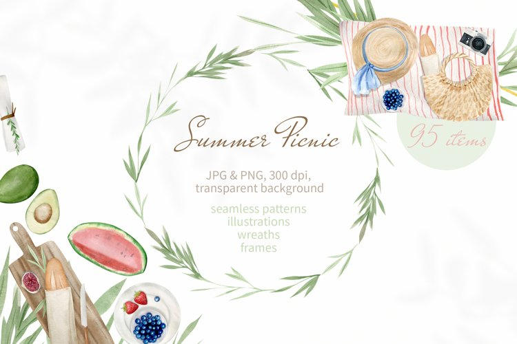 Summer Picnic Watercolor Clipart. Illustrations, Patterns example image 1