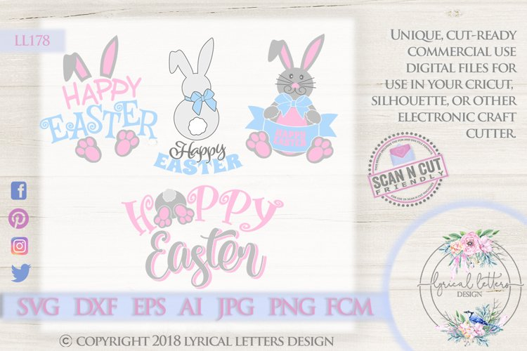 Happy Easter Bunny Bundle of 4 SVG DXF Cut Files LL178 example image 1