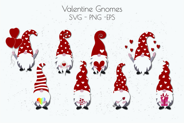 Valentine Gnome SVG, Valentines Day SVG, Gnome SVG example image 1