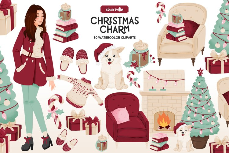 Cozy Christmas Watercolor Clipart example image 1