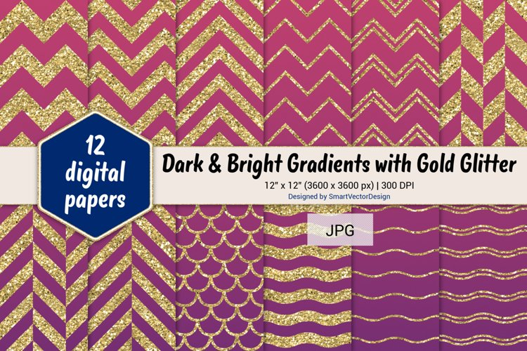 Chevron, Scales, & Waves - Gradients with Gold Glitter #55