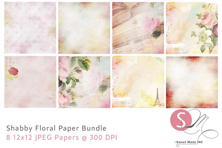 Shabby Floral Paper Bundle example image 1