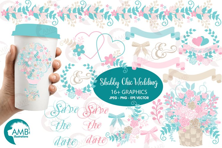 Shabby Chic Wedding Floral Hotair Balloon cliparts AMB-1276 example image 1