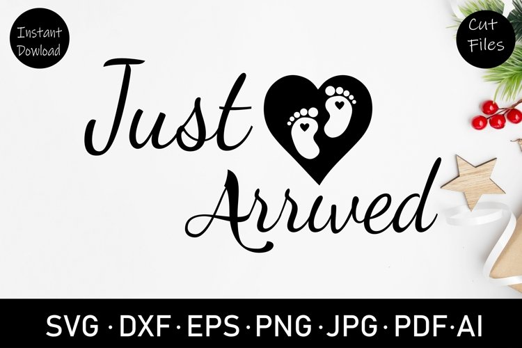 baby foot print SVG, cut file, clipart, new baby svg, dxf example image 1