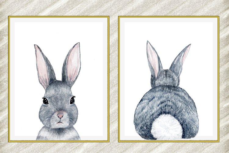 Cute Bunny digital print,Rabbit Tail Print,Watercolor Bunny example image 1