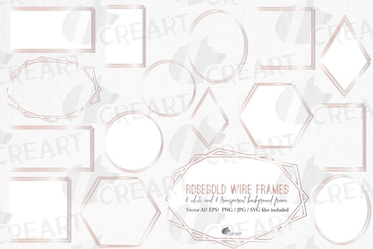 Download Vintage Wedding Geometric Rosegold Frames Polygonal Borders 927829 Illustrations Design Bundles