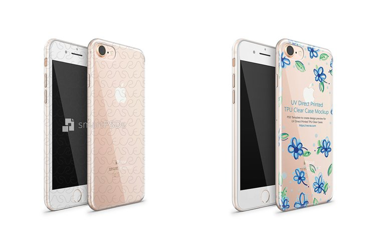 iPhone 8 UV TPU Clear Case Design Mockup 2017 Front-Bac example image 1