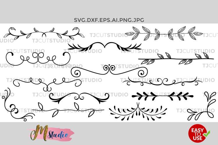 Dividers Svg, Hand drawn Leaves, Leaf Dividers svg. example image 1