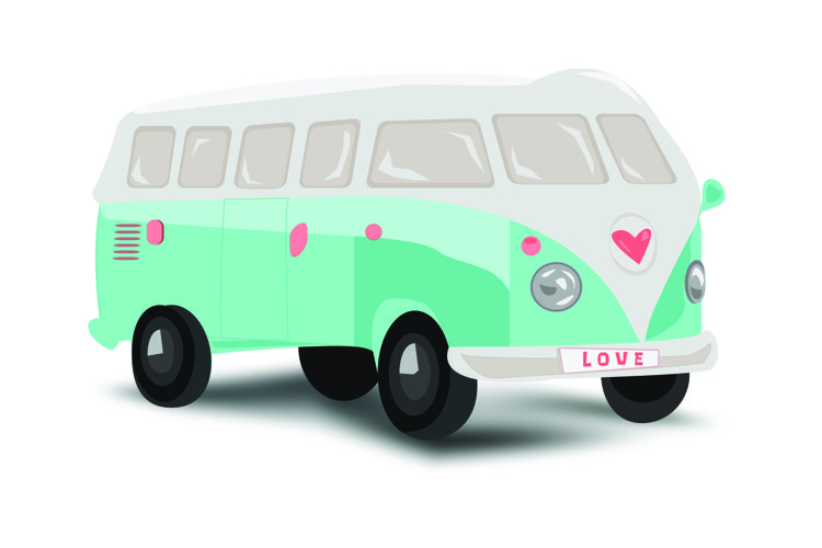 Mint bus with pink heart