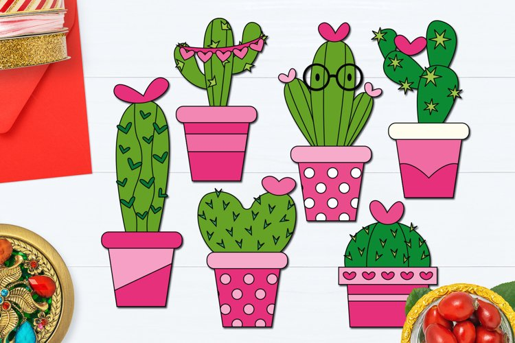 Valentine Cactus in Pink Pot Illustrations example image 1