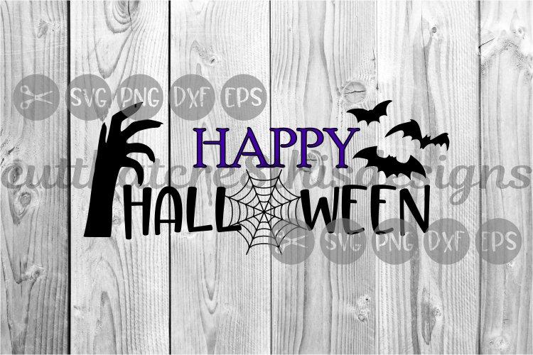 Happy Halloween, Web, Creepy Hand, Bats, Cut File, SVG. example image 1