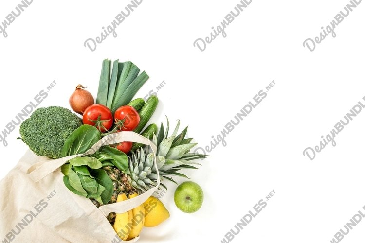 Healthy food. Fresh organic fruits vegetables example image 1
