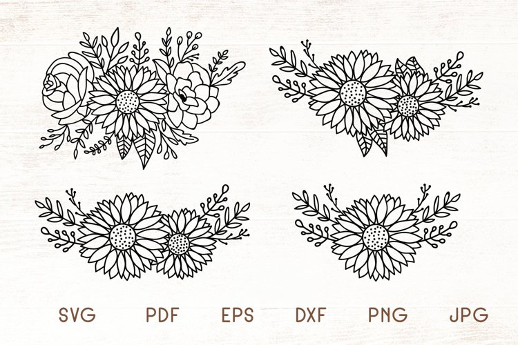 Sunflowers SVG - Sunflower Cliparts - Flowers SVG example image 1