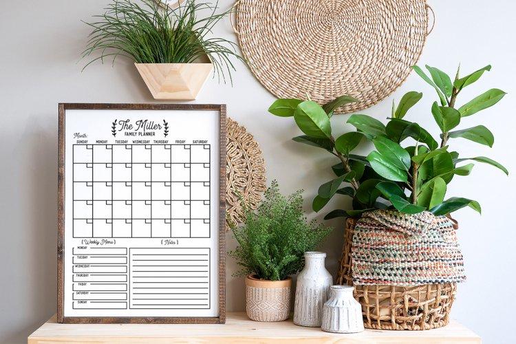 Customizable Family Calendar SVG example 2