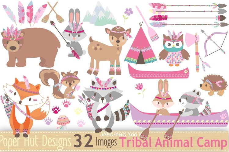 Girls Tribal Animals Clipart example image 1