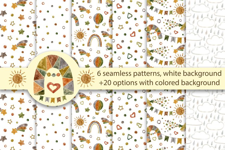 Digital Papers Rainbow, Airplane, Balloon, Stars and Comet