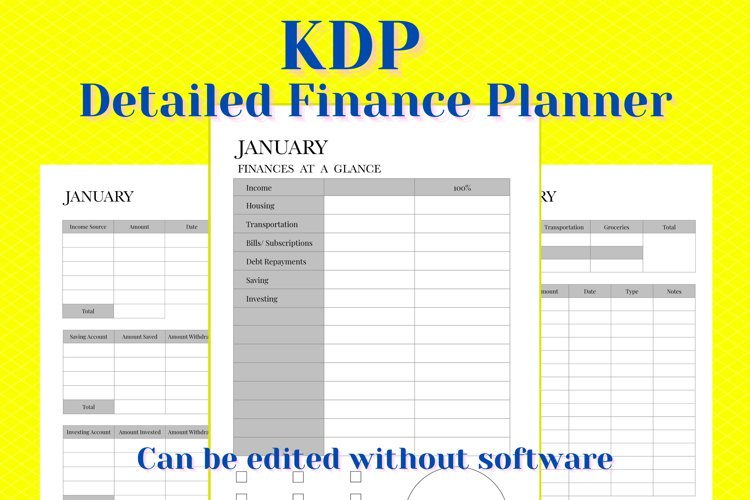 KDP Detailed Finances Planner