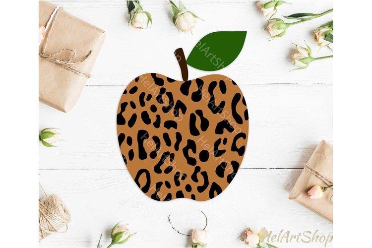 Leopard Print Apple svg, Teacher svg, Back To school svg