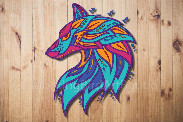 Colorful Wolf Head example image 1