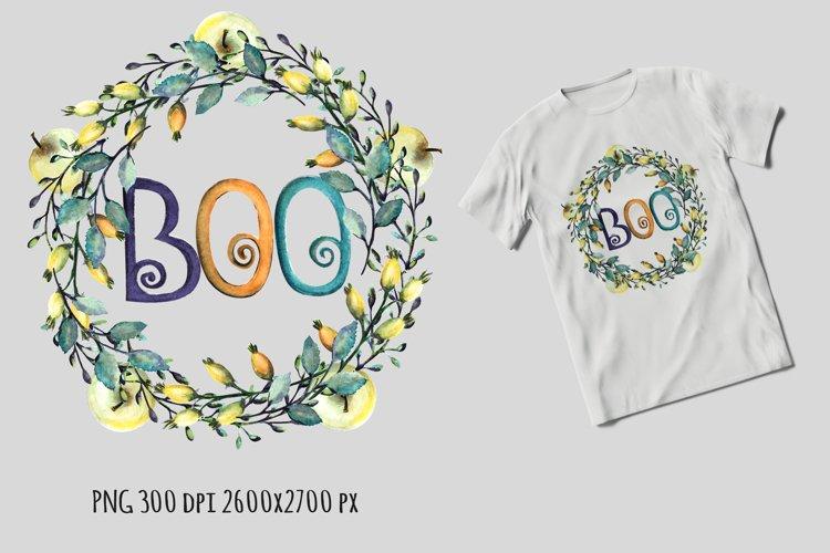 Boo wreath Halloween sublimation design example image 1