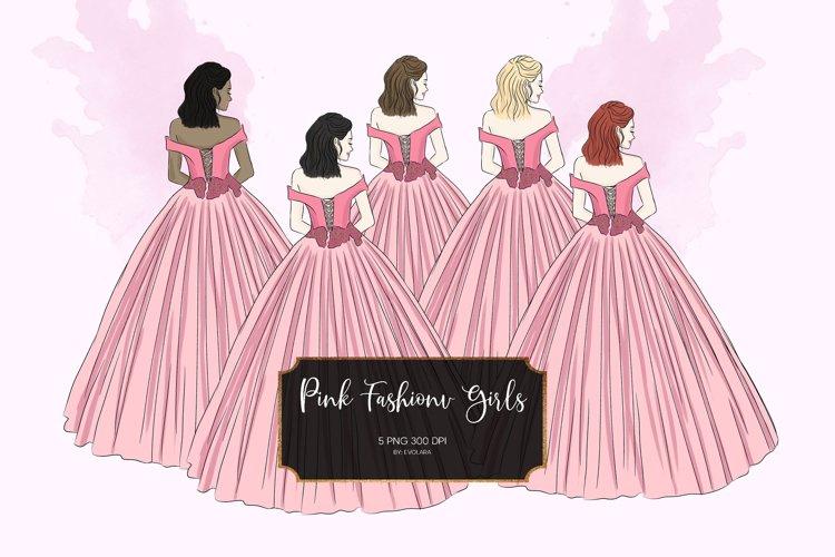 Pink Fashion Girls Clipart Fashion Illustrations Princess