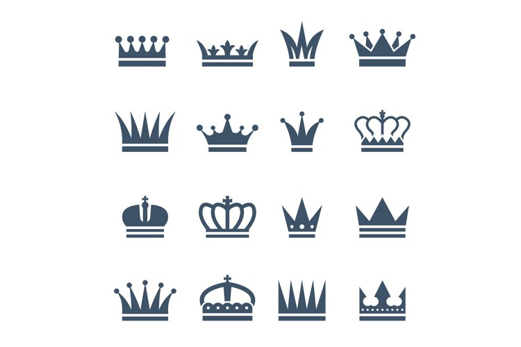 Set of monochrome crowns. Illustrations for luxury badges example image 1