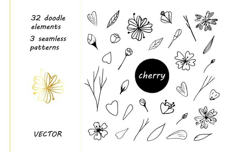 Cherry Doodle Vector Set.Elements And Patterns.