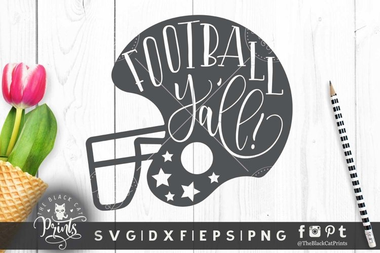 Football Y'all helmet SVG DXF EPS PNG Football cutting files example image 1