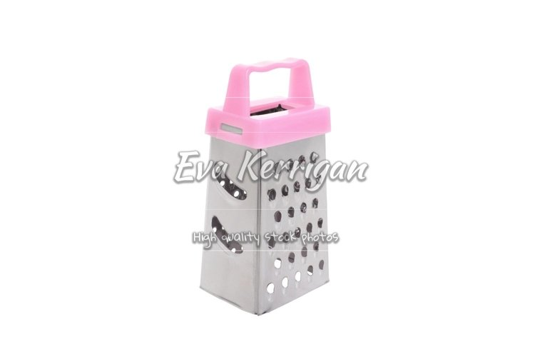 A metal grater with a pink plastic handle for chopping food. example image 1