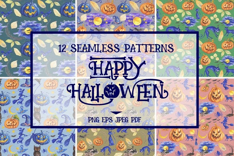 Halloween Seamless Patterns example image 1