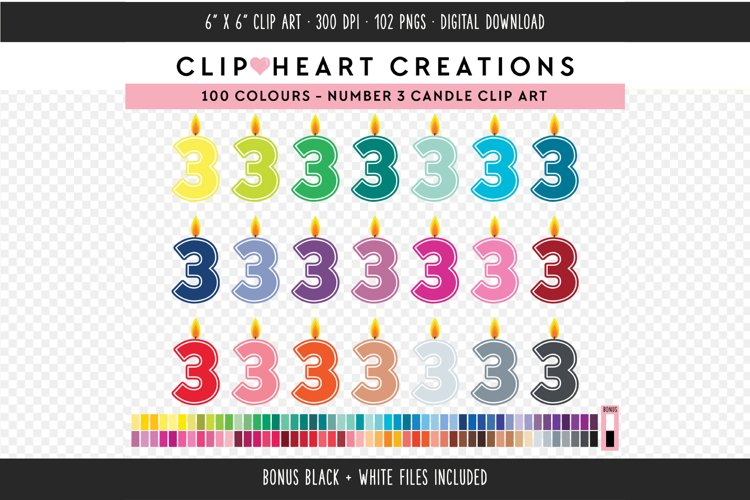 Number 3 Birthday Candle Clip Art - 100 Clip Art Graphics example image 1