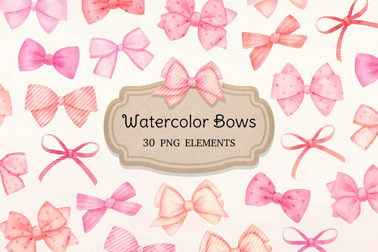 Watercolor Pink Bows Clipart, Baby shower, nursery graphics