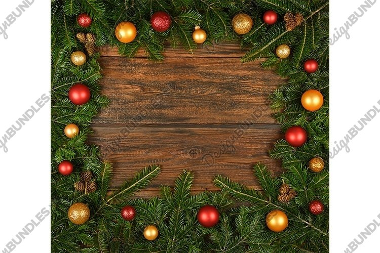 Fresh Christmas Tree Frame over Wood