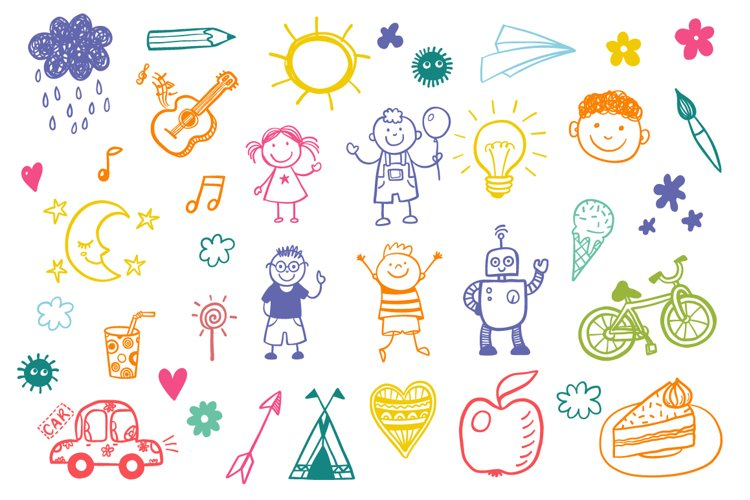Children's drawing vector set example image 1