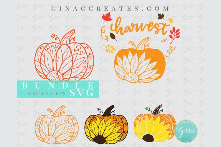 Fall Pumpkin Sunflower SVG Bundle example image 1