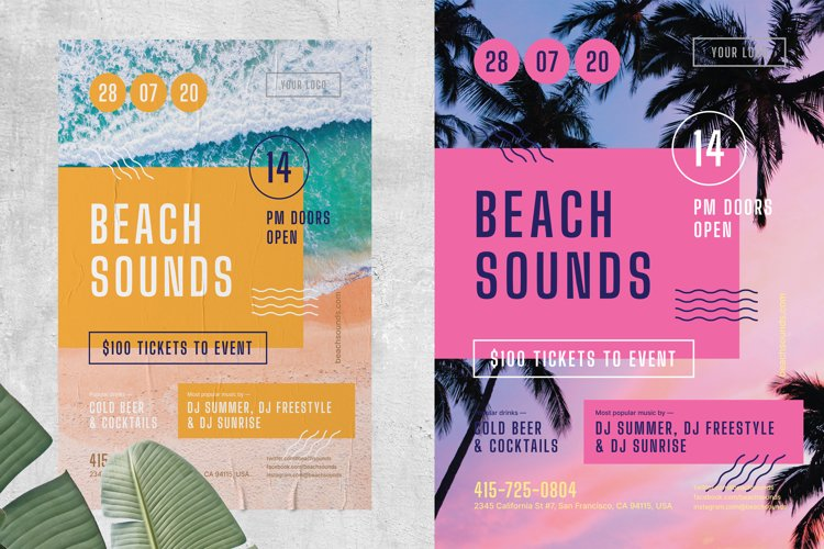 Beach Sounds Poster Template example image 1