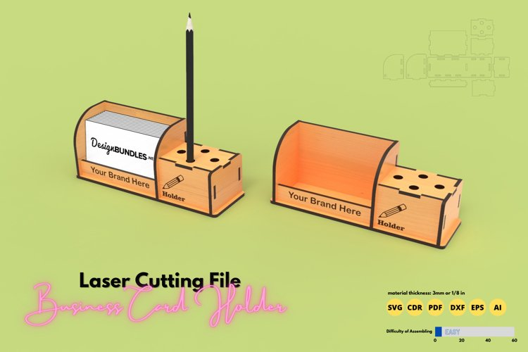 Business Card Holder - laser cutting file example image 1