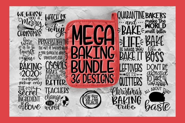 MEGA BAKING BUNDLE - SVG - 36 DESIGNS - POTHOLDER - APRON