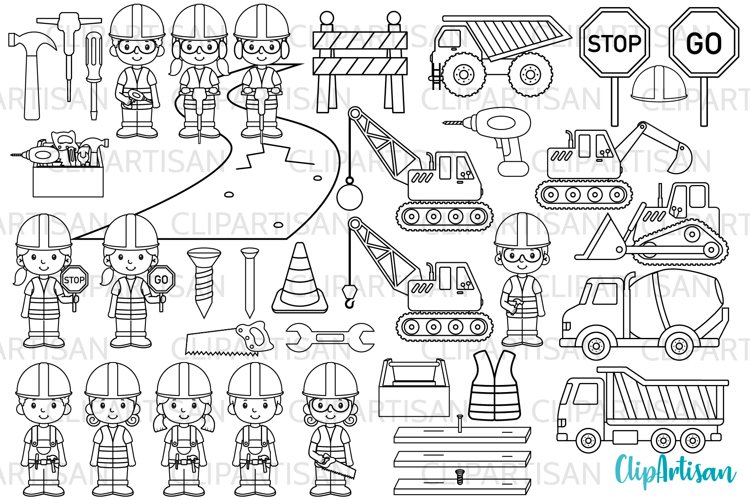 Construction Clip Art, Digital Stamps