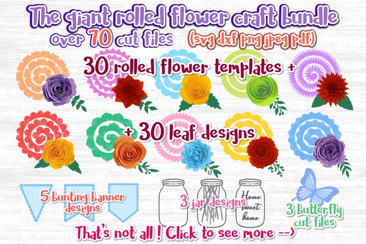 Paper Flower svg, 3d flower svg, Rolled Flower svg file, example image 1